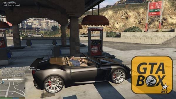 Заправка автомобиля в GTA 5 бензином