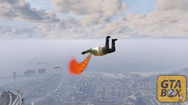 Тревор летит с парашютом в GTa 5