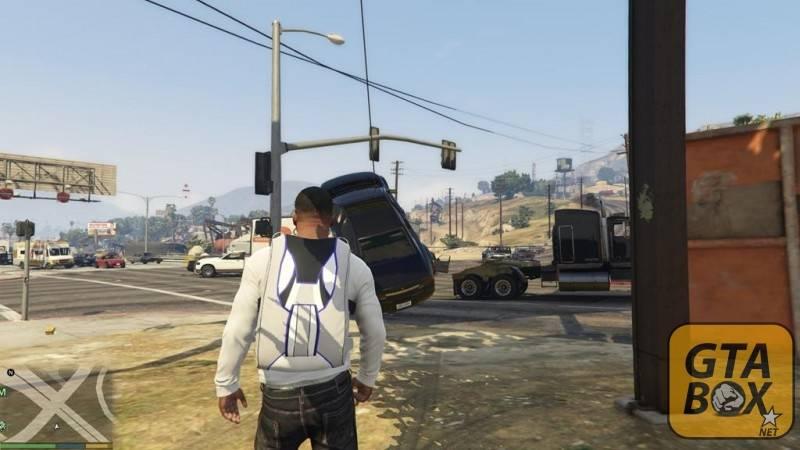 Франклин управляет машиной в воздухе