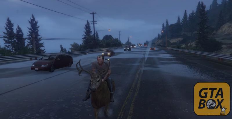 Тревор катается на олене в  GTA 5