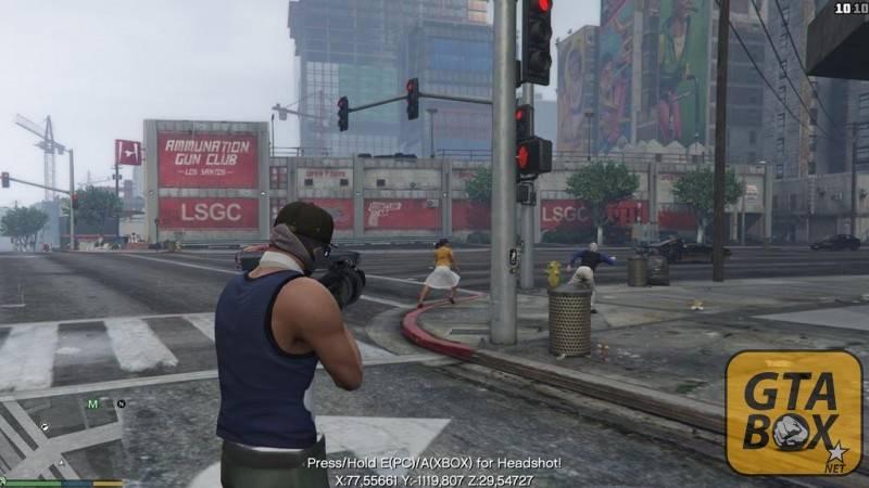 Франклин стреляет из автомата