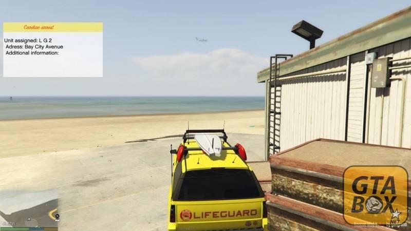 Майкл на машине спасателей